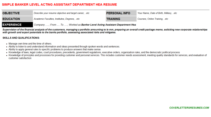 Banker Level Acting Assistant Department Hea CV Resume
