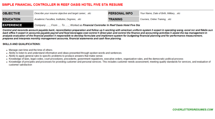 Financial Controller In Reef Oasis Hotel Five Sta Resume Template (#5418)
