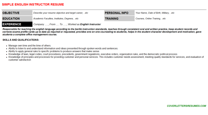 English Instructor Resume Template (#130419)