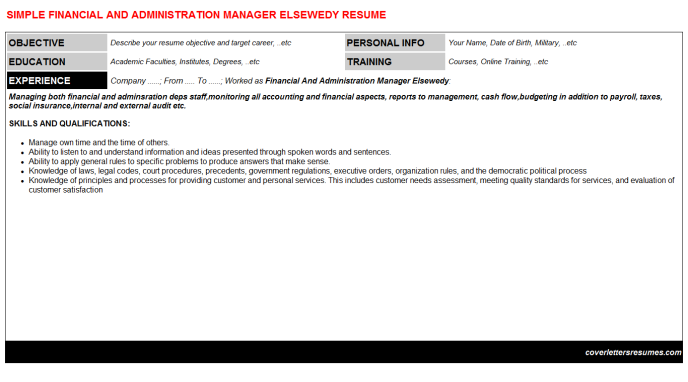 Financial And Administration Manager Elsewedy Resume Template