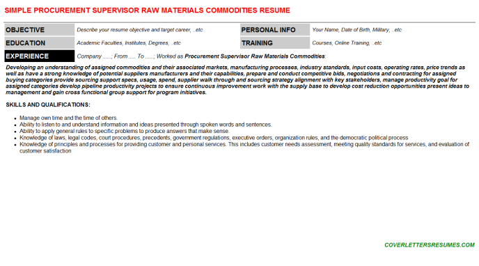 Procurement Supervisor Raw Materials Commodities Resume Template