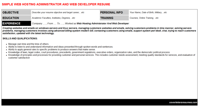 Web Hosting Administrator And Developer Resume Template 3424