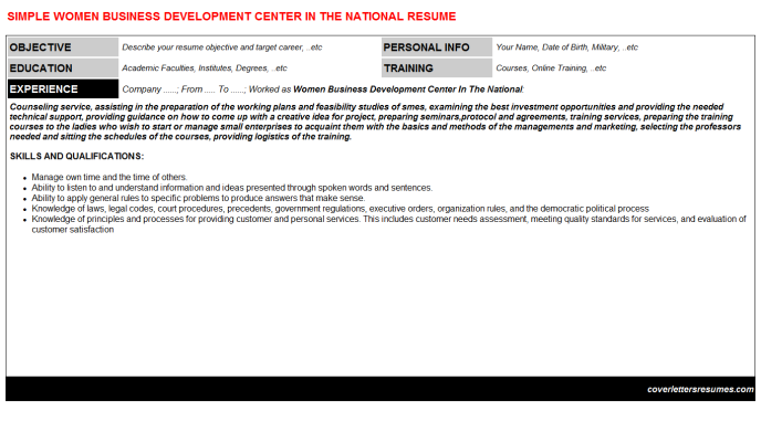 Women Business Development Center In The National Resume Template (#7924)