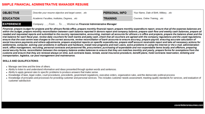 Financial Administrative Manager Resume Template