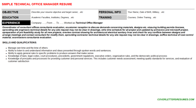 Technical Office Manager Resume Template
