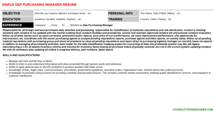 Dep Purchasing Manager Resume Template