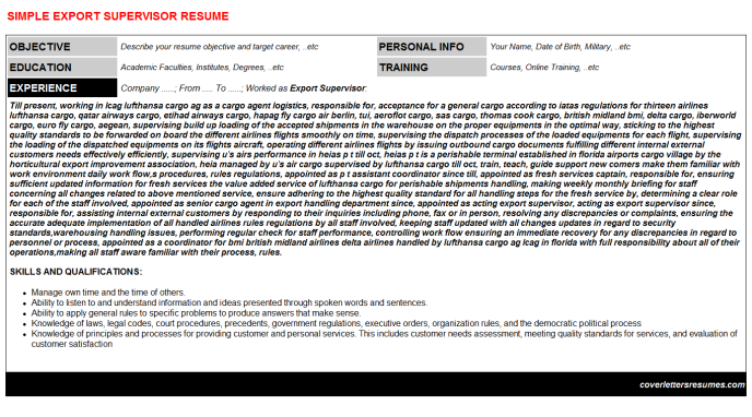 Export Supervisor Resume Template