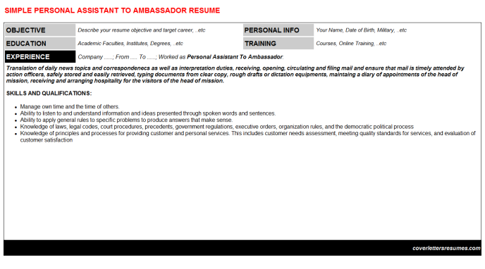 Personal Assistant To Ambassador Resume Template (#35428)