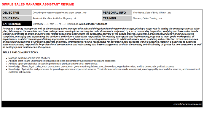 Sales Manager Assistant Resume Template