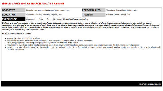 Marketing Research Analyst Resume Template (#43042)