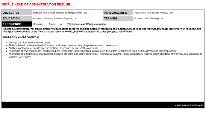 Head Of Administration Resume Template (#929)