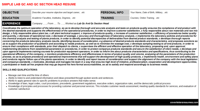 Lab Qc And Qc Section Head Resume Template (#52429)