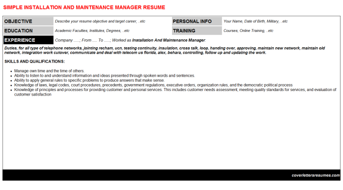 Installation And Maintenance Manager Resume Template