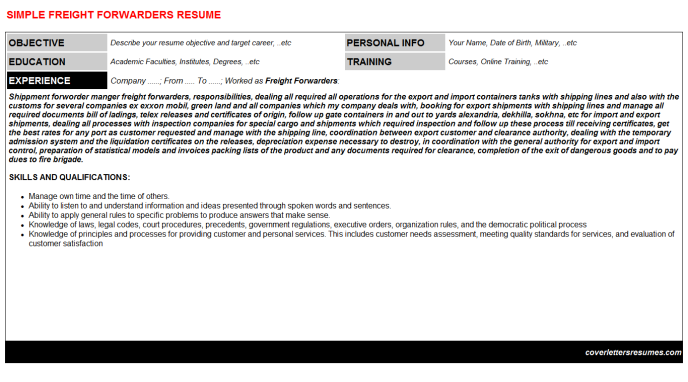 Freight Forwarders CV Cover Letter & Resume Template
