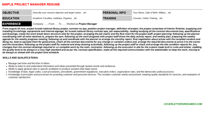 Project Manager Resume Template (#34931)