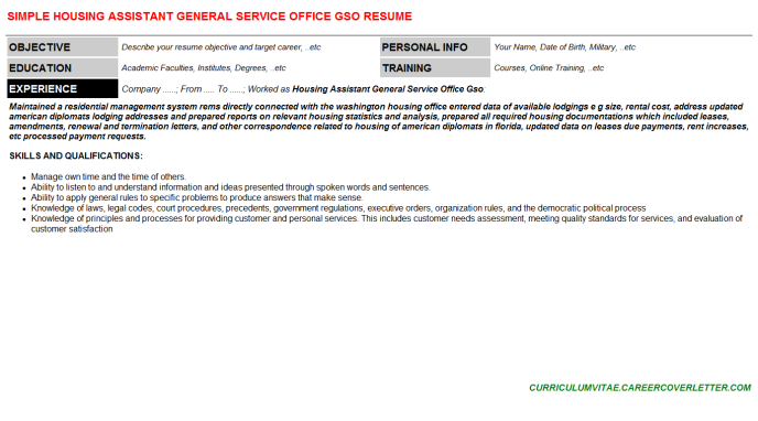 Housing Assistant General Service Office Gso Resume Template