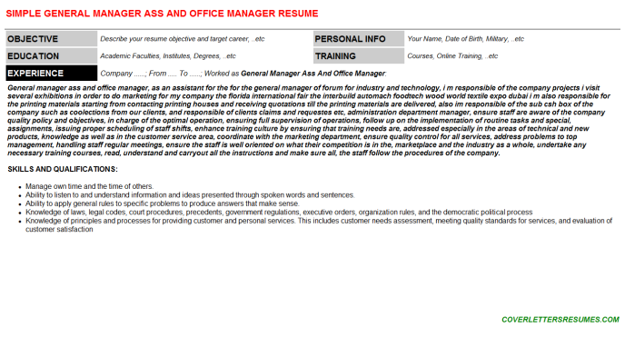 General Manager Ass And Office Manager CV Resume