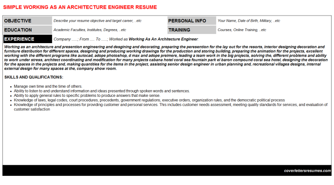 Working As An Architecture Engineer Resume Template (#15432)