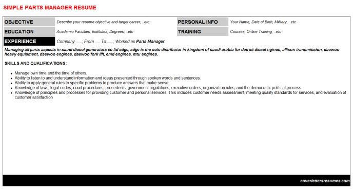 Parts Manager Resume Template