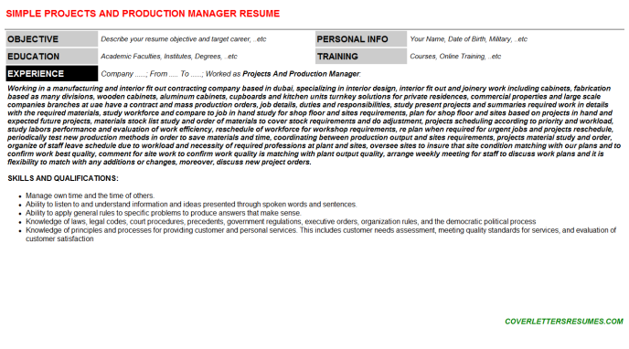 Projects And Production Manager Resume Template (#26434)