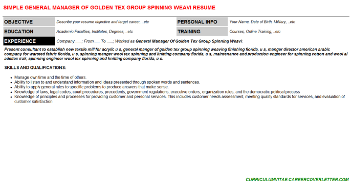 General Manager Of Golden Tex Group Spinning Weavi Resume Template (#71936)