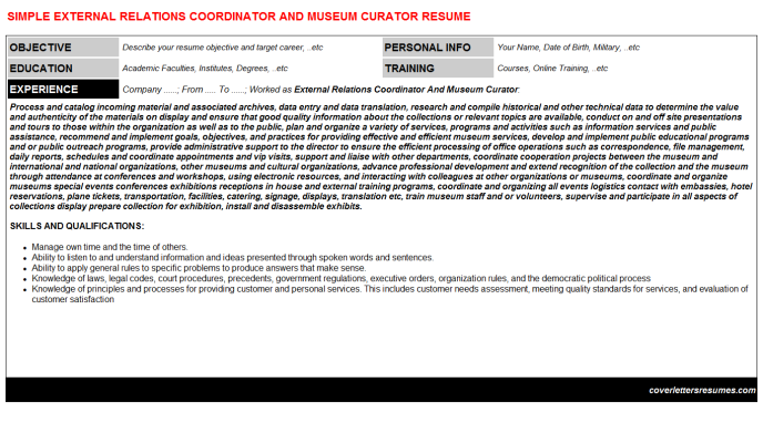 External Relations Coordinator And Museum Curator Resume Template