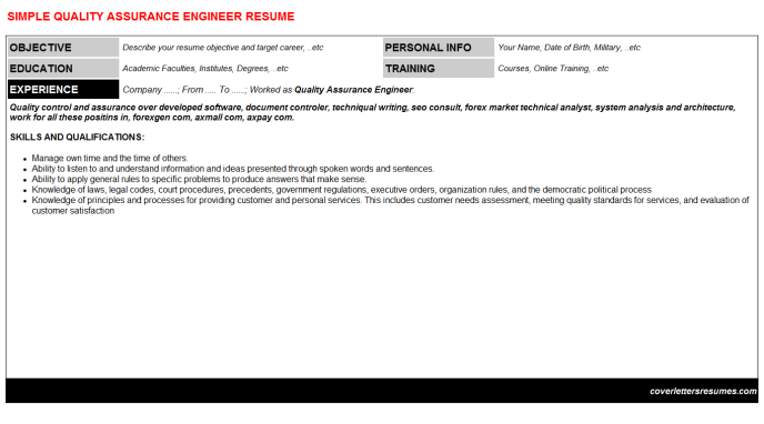 Quality Assurance Engineer CV Cover Letter & Resume Template ...