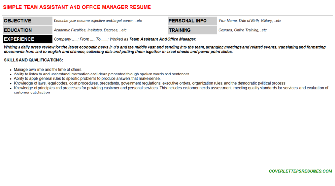 Team Assistant And Office Manager CV Cover Letter & Resume ...