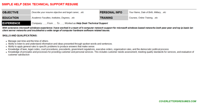 Help Desk Technical Support Resume Template