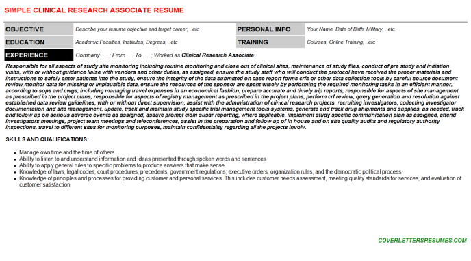Clinical Research Associate Cover Letter Example.Clinical Research Associate Cv Cover Letter Resume