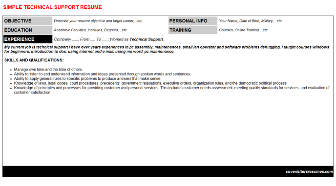 Technical Support Resume Template (#1439)