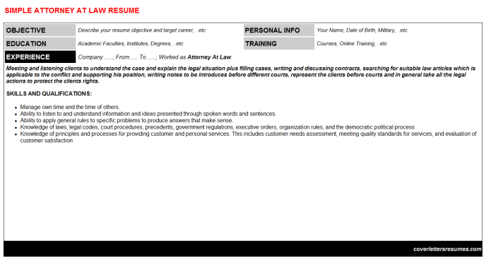 Attorney At Law Resume Template