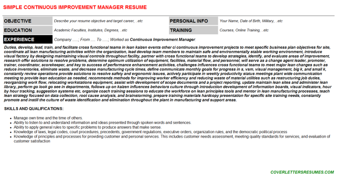continuous improvement manager cv cover letter  u0026 resume template