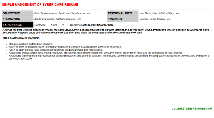 Mangement Of Syber Cafe Resume Template (#941)