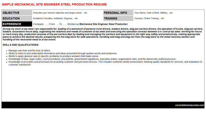 Mechanical Site Engineer Steel Production Resume Template