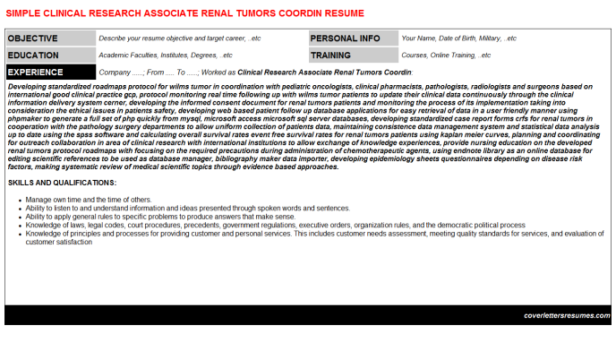 Clinical Research Associate Renal Tumors Coordin CV Cover