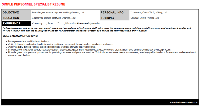 Personnel Specialist Resume Template (#34943)