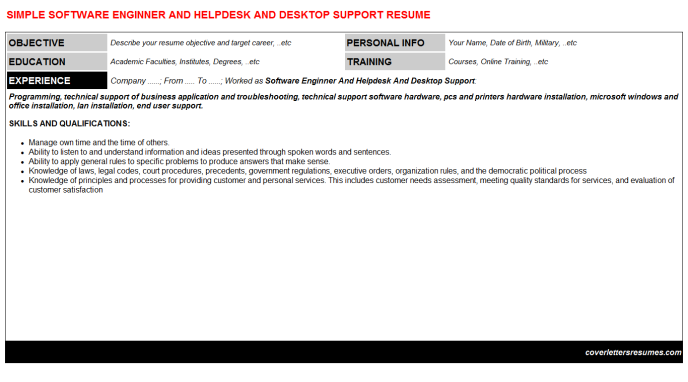 Software Enginner And Helpdesk And Desktop Support Resume Template (#17943)