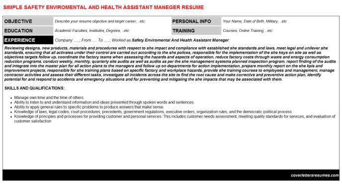 Safety Enviromental And Health Assistant Maneger Resume Template (#16446)