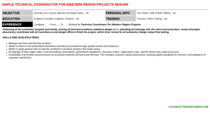 Technical Coordinator For Western Region Projects Resume Template