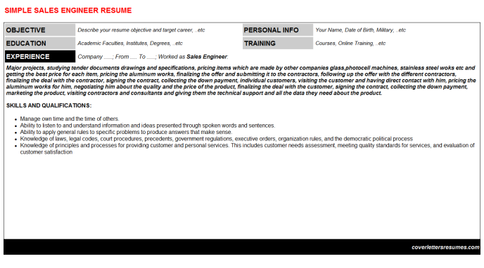 Sales Engineer CV Cover Letter & Resume Template (#1447)