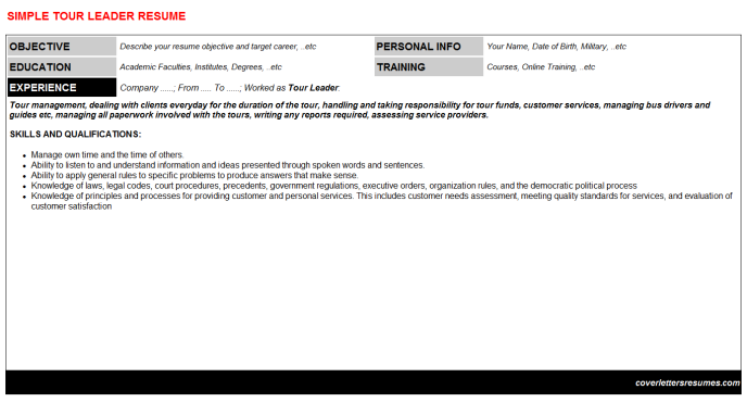 Tour Leader Resume Template (#447)