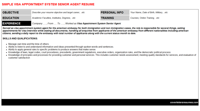 Visa Appointment System Senior Agent Resume Template (#35947)
