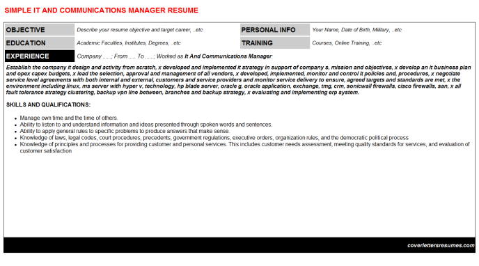 It And Communications Manager Resume Template (#948)
