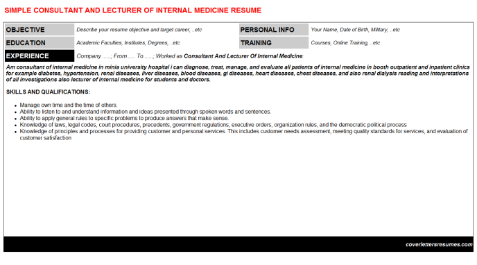 Consultant And Lecturer Of Internal Medicine CV Cover Letter ...