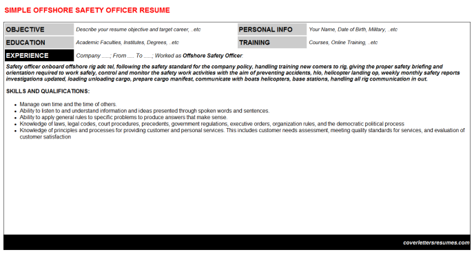 Offshore Safety Officer Resume