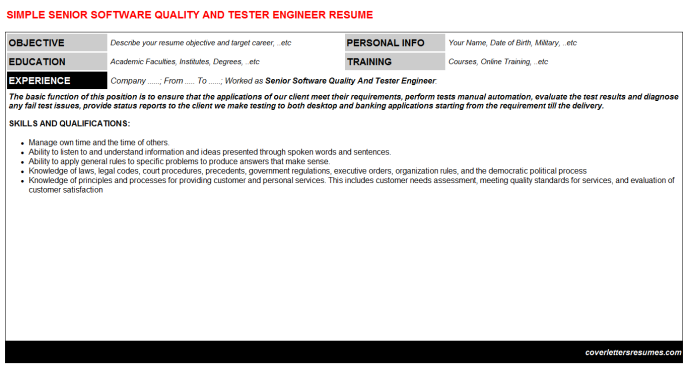 Senior Software Quality And Tester Engineer Resume Template (#9949)
