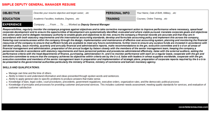 Deputy General Manager Resume Template