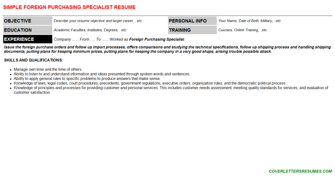 Foreign Purchasing Specialist Resume Template