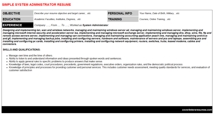 System Administrator Resume Template (#24453)